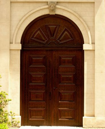 Castle Door. Western front entrance of Dundurn Castle in Hamilton. The castle was completed in 1835 Stock Photo