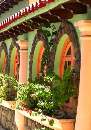 frontage: Typical Venezuelan frontage of the house. Travel around South America.. Stock Photo