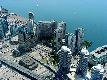 Toronto Bay coast line. Many development of new architectural objects on the skyline of Toronto.