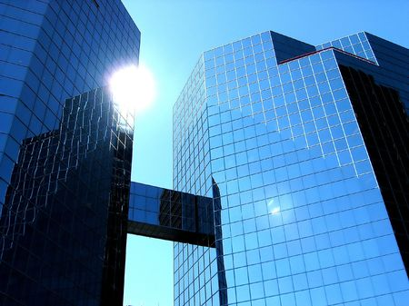 Sun in American Downtown. The sun is not too frequently visitor of the city center. photo