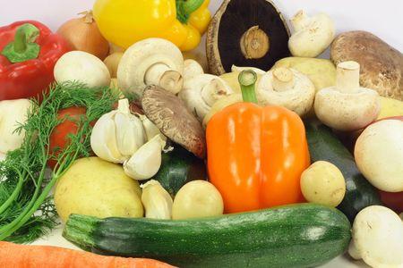 gills: Vegetables, Zucchini, Mini Yellow Potatoes, Yellow Potatoes, Dill, Garlic, White and  Portabello (Portobello, Portabella) mushrooms, Yellow, Red and Orange pepper, Tomatoes, Onion and Carrot.