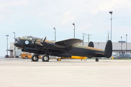 Side view of Avro Lancaster bomber. Avro Lancaster Canadian manufactured version of most famous British Bomber Lancaster MK. In Canada are manufactured over 400 bombers total over 7300 Lancaster. Stock Photo