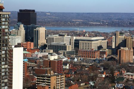 North-American Downtown in cold  sunny day. Urban landscape of downtown Hamilton Ontario. Stock Photo