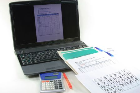 Picture represents Computerized preparation for finalizing of financial year and preparation of the tax declaration for the government.
