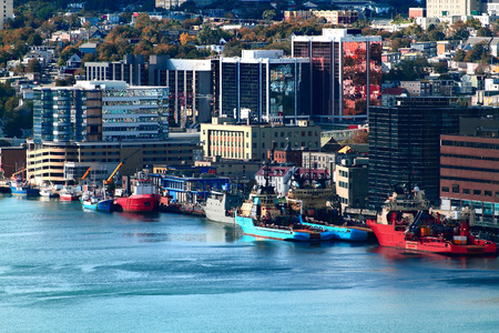 Downtown of Newfoundland and Labrador Capital - St  John s and part of the Harbor   Stock Photo