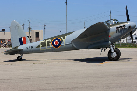 HAMILTON, ONTARIO CANADA - JUNE 15, 2014  Only one in world flying De Havilland DH 98 Mosquito Designed in UK built in Canada refurbished in New Zealand combat aircraft known as  The Wooden Wonder