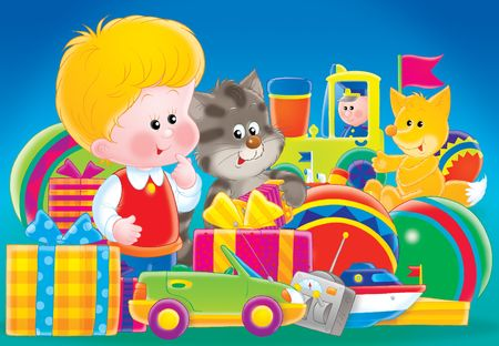 for children toys: The boy with gifts. Illustration for children.