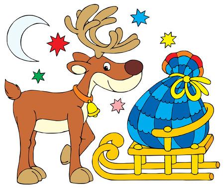 kiddish: Santa Clause Reindeer Illustration