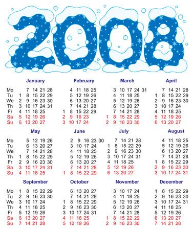 Calendar 2008 Stock Vector - 1479606