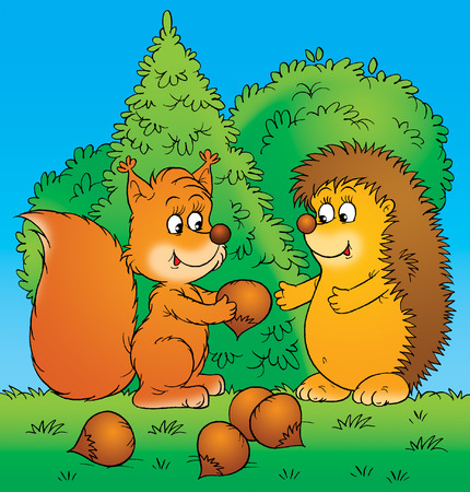 red squirrel: Squirrel and hedgehog Stock Photo