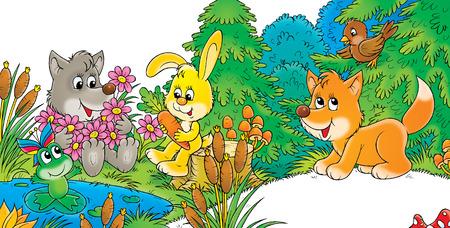 wild rabbit: Friends Stock Photo