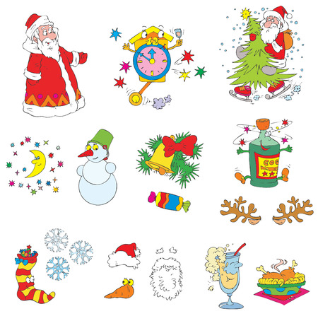 winter fun: Kerstmis clip-arts (vector)