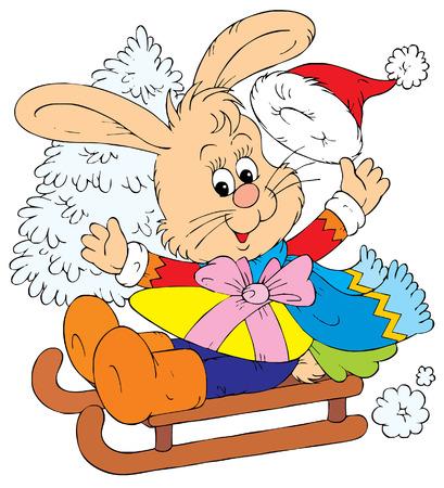 Christmas Bunny (vector) Vector