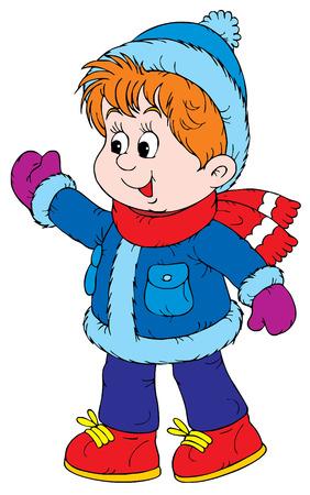 winter fun: Wandel kleuter (vector)  Stock Illustratie