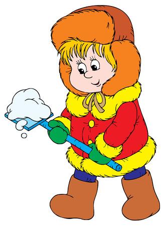 kid vector: Paseo de invierno (vector)