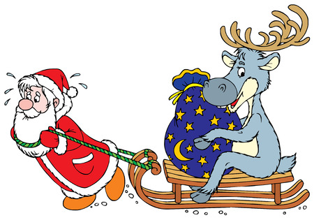 funny picture: Santa Clause and Reindeer