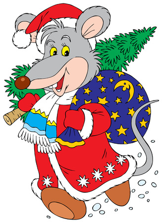 year of the rat: Rat-a-Clause (vector clip-art)