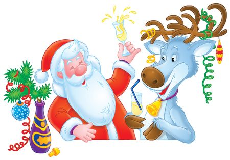 Santa Clause and Reindeer Stock Photo - 2242370