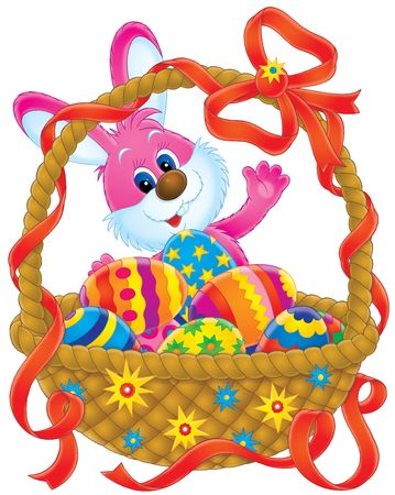 hand baskets: Easter Bunny and basket Stock Photo