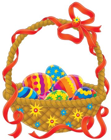 paskha: Easter eggs basket Stock Photo