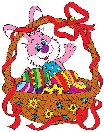 eggs in basket: Easter Bunny and basket Illustration