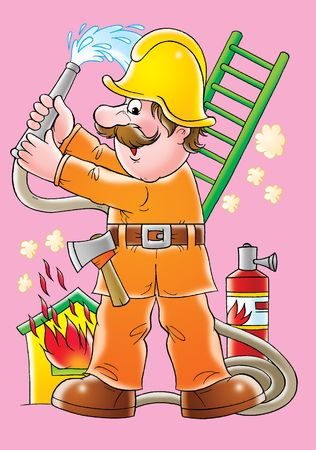 workday: Fireman Stock Photo