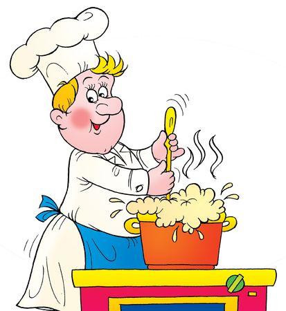 hombre caricatura: Cocinar