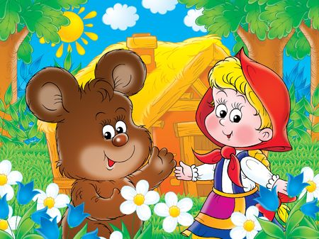 villager: Bear-cub and girl