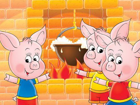 kiddish: funny piglets Stock Photo