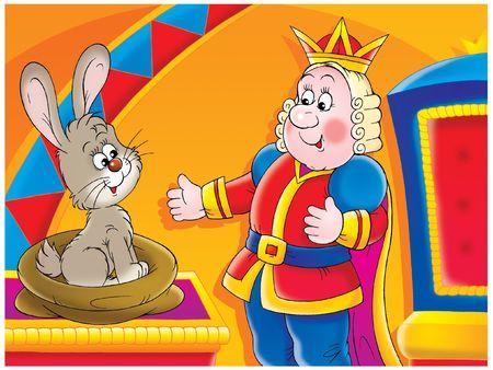 king caricature: El Rey y el conejo  Foto de archivo
