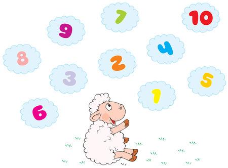 �baco: White ovejas y las nubes  Vectores