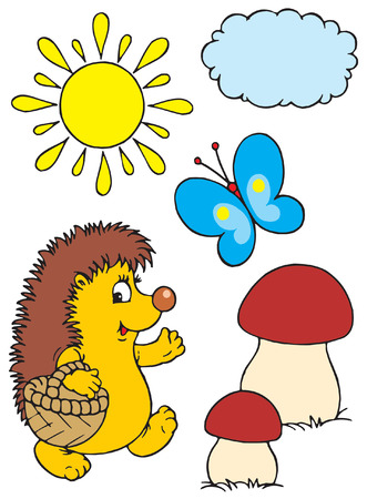 Hedgehog and butterfly Vector