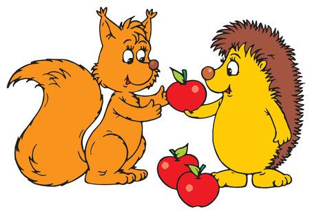 Hedgehog and squirrel Vector