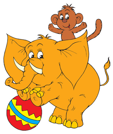 circus Elephant and monkey