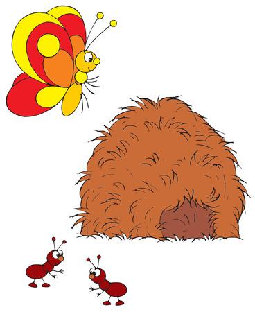 ameisenhaufen: Butterfly und Ameisen
