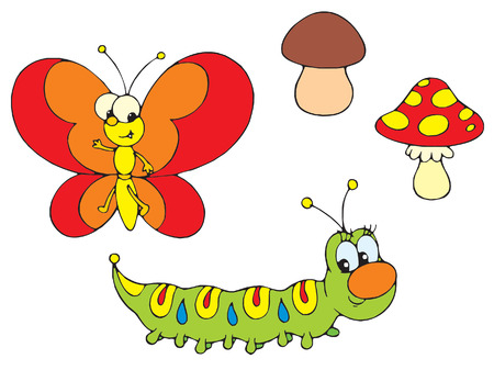Caterpillar and Butterfly  Vector