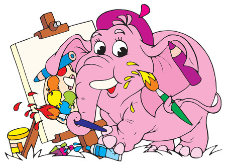 funny picture: Elephant painter  Illustration
