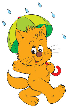 Kitten with green umbrella  Illustration