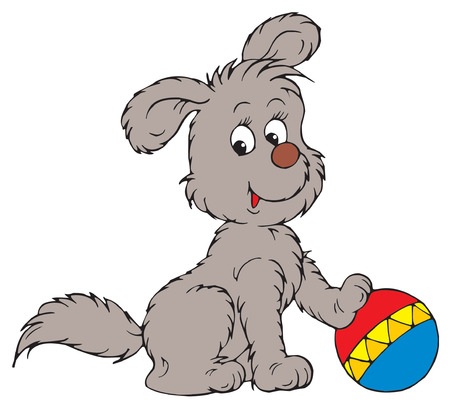 Pup and ball  Vector