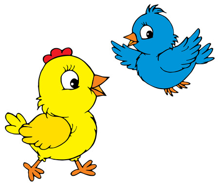 Chick and bird  Vector
