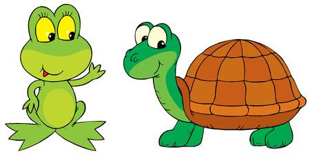ridicolo: Rana e la tartaruga Vettoriali
