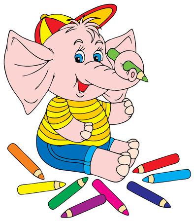 Artist Elephant Vector