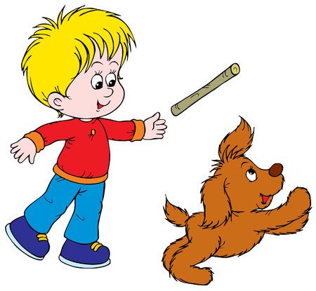 niños jugando caricatura: Boy y Puppy