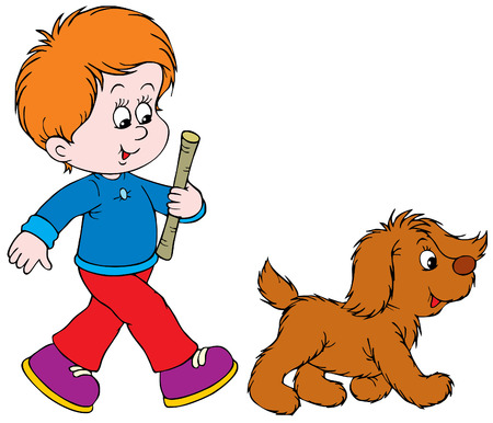 dog walking: Walking Boy and Pup  Illustration