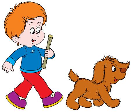 game boy: Walking Boy and Pup  Illustration