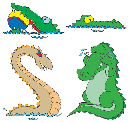 Crocodiles and dinosaur Vector