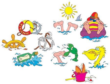 pelican: Beach clip-arts for your photos Illustration