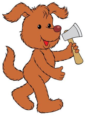 Rural Dog with an axe Vector