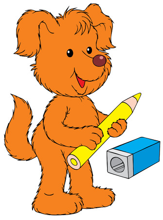 Dog with yellow pencil Vector