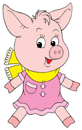 Pink piglet Vector
